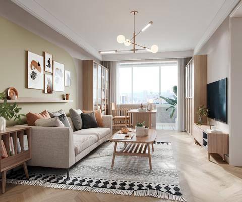 客厅, 北欧, 家装
