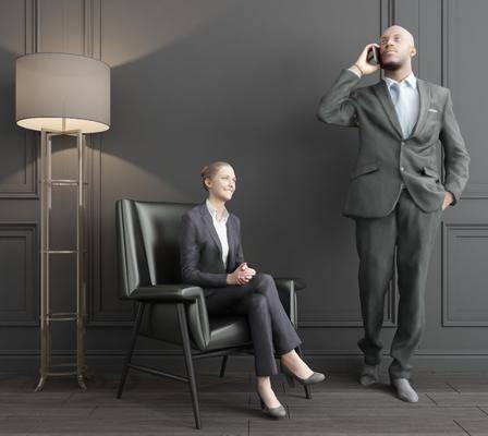 男性模特, 女人, 双人, 落地灯, 单人沙发, 现代
