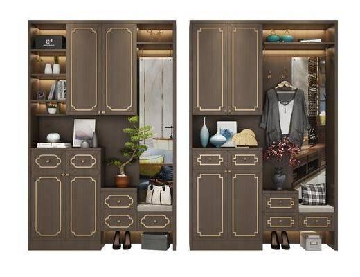鞋柜组合, 装饰柜, 装饰品, 陈设品, 盆栽, 摆件, 新中式