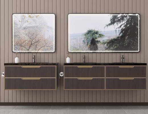 洗面盆, 浴室柜, 壁镜, 浴柜