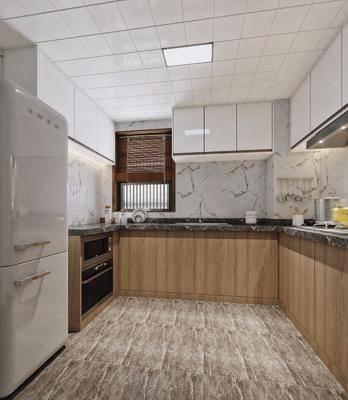 厨房, 新中式, 橱柜, 厨具, 冰箱