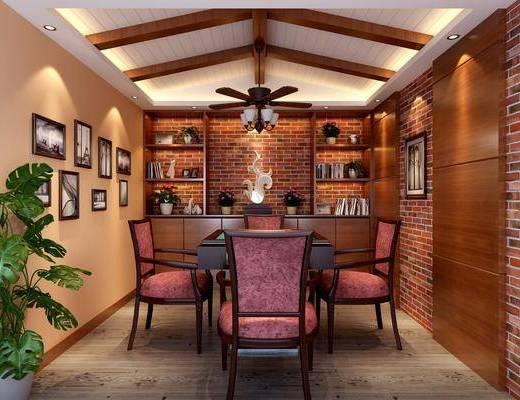 桌椅组合, 吊灯, 酒柜, 装饰画