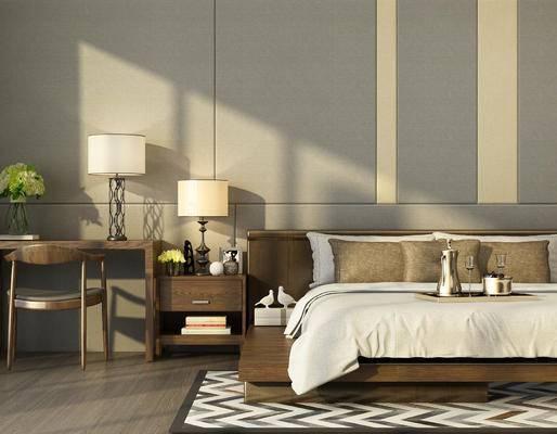 现代, 床具, 双人床, 床头柜, 摆件, 台灯, 装饰品, 陈设品, 书桌, 椅子, 盆栽