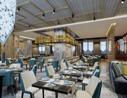 餐厅, 餐桌椅, 桌椅组合, 餐具, 现代餐厅