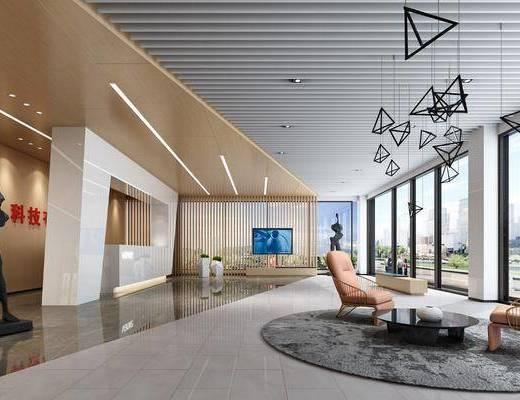 办公大厅, 接待前台, 雕塑, 休息区, 绿植, 吊灯, 单人椅, 茶几, 摆件, 墙饰, 装饰品, 陈设品, 盆栽, 现代