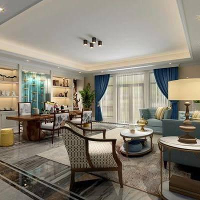 书房, 多人沙发, 单人沙发, 茶几, 摆件, 装饰品, 陈设品, 装饰柜, 书籍, 书桌, 装饰画, 挂画, 单人椅, 后现代