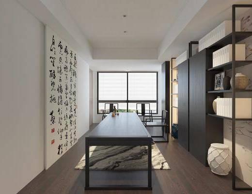书房, 书柜, 装饰架, 书籍, 装饰画, 挂画, 桌子, 凳子, 单人椅, 新中式