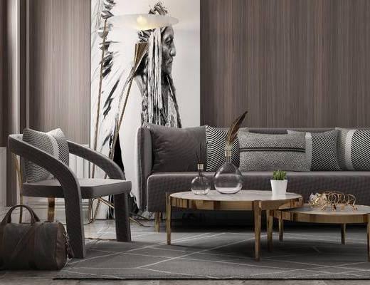 现代, 客厅, 沙发, 边几, 摆件, 装饰画, 落地灯, 休闲椅
