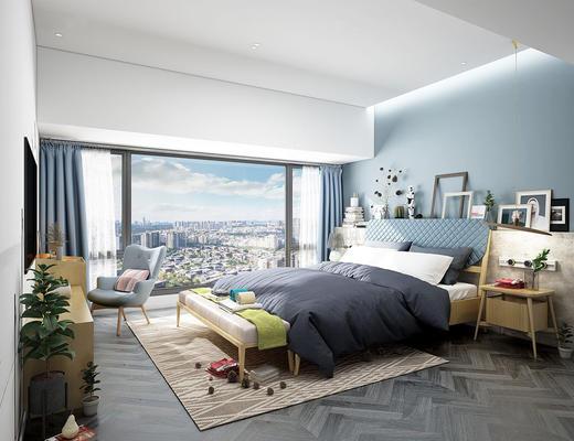 北欧简约, 卧室, 床具组合, 桌椅组合, 陈设品组合
