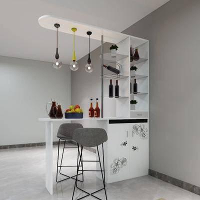 酒柜, 小吧台, 吊灯, 摆件, 吧椅, 北欧