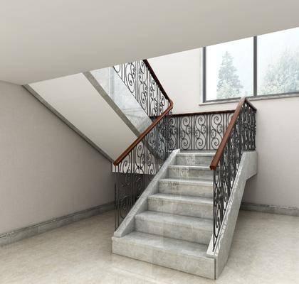 铁艺楼梯, 楼梯组合, 现代