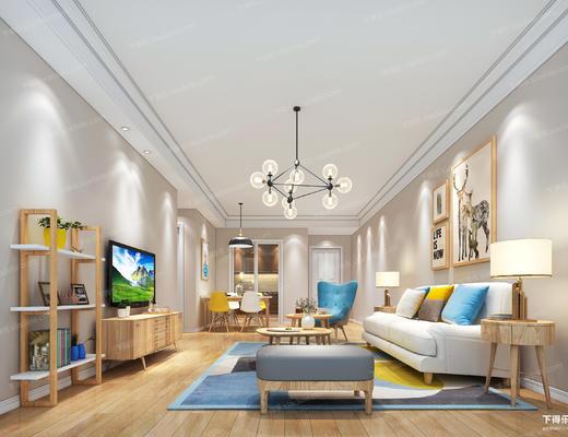 客厅, 沙发组合, 沙发茶几组合, 现代客厅, 北欧客厅, 电视柜