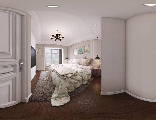 主卧, 双人床, 床具组合, 装饰画