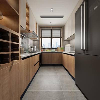 厨房, 橱柜, 厨具, 冰箱, 现代