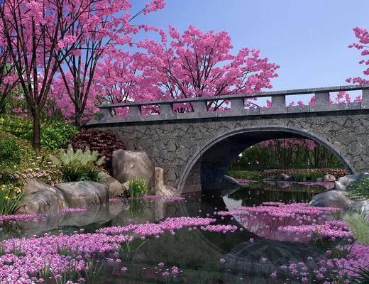 樱花谷, 园林, 公园, 花园, 河岸景观, 景观组合, 景观桥