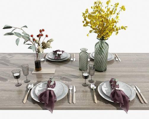 餐具, 刀叉, 花瓶, 植物