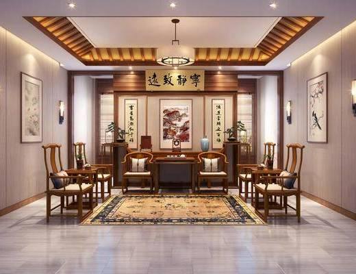 客厅, 接待区, 单人椅, 吊灯, 装饰画, 挂画, 壁灯, 茶几, 摆件, 装饰品, 陈设品, 中式