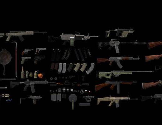 绝地求生, 枪械, 手枪, 手雷, 烟雾弹, 弩箭, 狙击枪, 枪械配件