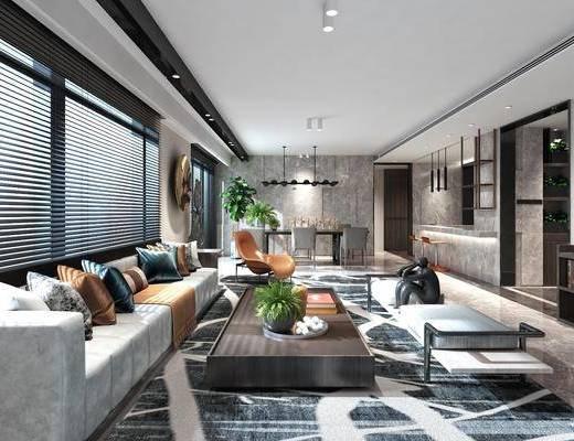 客厅, 多人沙发, 茶几, 单人椅, 餐桌, 餐椅, 吊灯, 吧台, 吧椅, 装饰柜, 摆件, 装饰品, 陈设品, 现代