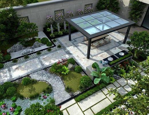 新中式, �e墅, 庭院, 花�@