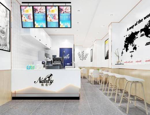 现代奶茶店, 奶茶店, 饮品店, 吧台, 吧椅, 装饰画, 桌子, 椅子