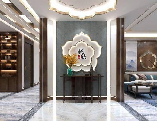 新中式客厅, 玄关, 多人沙发, 茶几, 墙饰, 沙发凳, 沙发椅, 电视柜