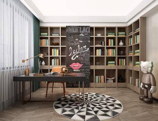 书房, 书桌, 现代书房, 桌椅组合, 书柜, 书籍, kaws