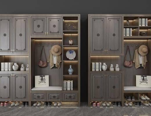 鞋柜, 装饰柜, 鞋子, 装饰品, 陈设品, 摆件, 新中式