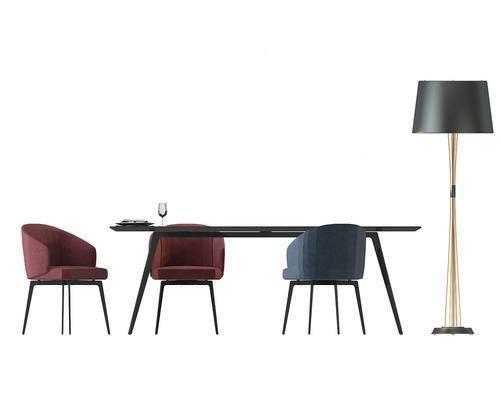 餐桌, 餐椅, 单人椅, 落地灯, 现代
