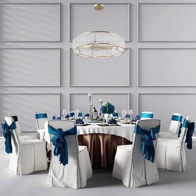 圆形餐桌, 餐桌椅, 椅子, 吊灯, 酒杯, 盘子