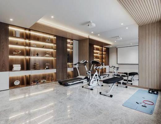 新中式, 健身房, 休息区