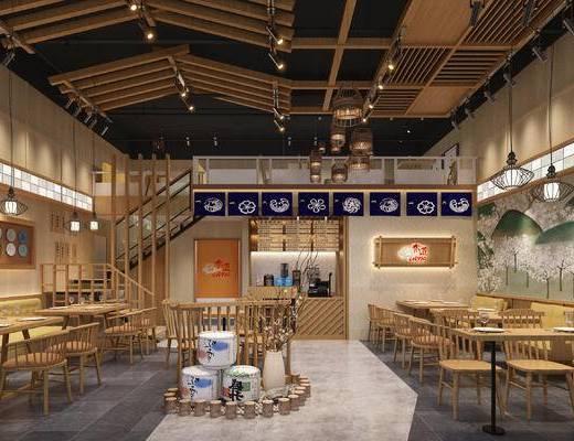 新中式餐饮, 火锅店, 日料店, 餐桌椅, 吊灯, 灯笼