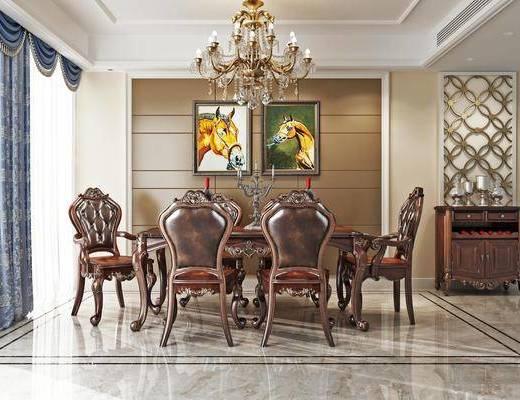 桌椅, 餐桌, 椅子, 单椅, 圆桌, 吊灯, 摆件, 餐边柜, 挂画, 装饰品, 红酒, 装饰画, 烛台, 欧式, 古典