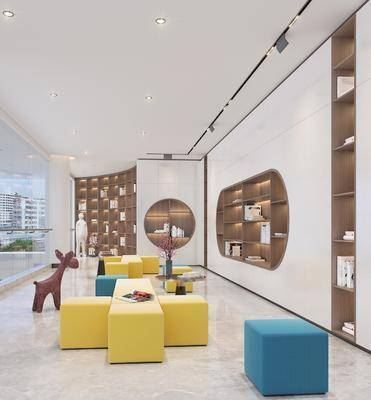 沙发组合, 图书馆, 书籍, 书柜, 边几, 桌花