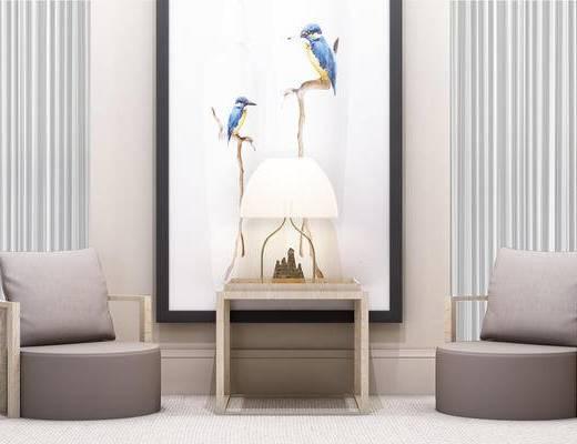 现代, 新中式, 禅意, 单人沙发, 边几, 台灯