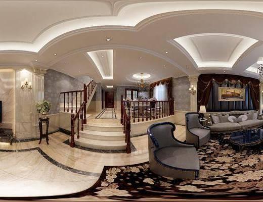 别墅, 客厅, 餐厅, 多人沙发, 茶几, 单人沙发, 双人沙发, 吊灯, 装饰画, 挂画, 电视柜, 边柜, 楼梯, 餐桌, 餐椅, 单人椅, 餐具, 壁灯, 花瓶花卉, 家装全景, 欧式