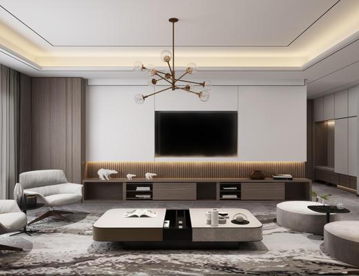 现代简约, 客厅, 餐厅, 沙发茶几组合, 桌椅组合, 吊灯