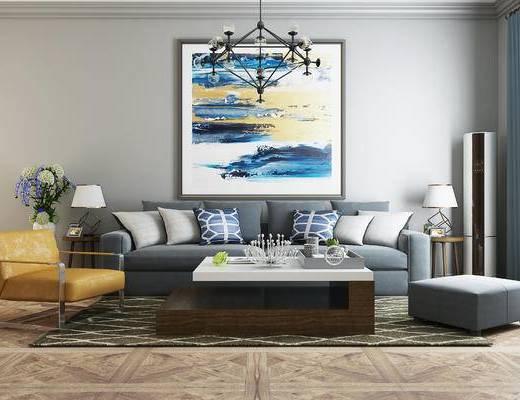 沙发, 沙发组合, 沙发茶几组合, 装饰画, 吊灯, 现代