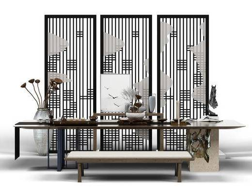 桌椅組合, 茶桌茶幾, 屏風隔斷, 茶具, 凳子, 擺件, 裝飾品, 陳設品, 新中式