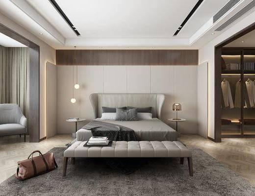 卧室, 双人床, 床头柜, 吊灯, 边几, 单人沙发, 衣柜, 服饰, 现代