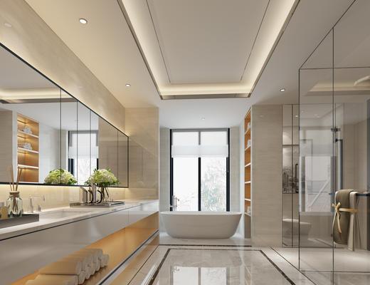 洗手间, 卫浴, 镜子, 洗手台, 浴缸, 淋浴间