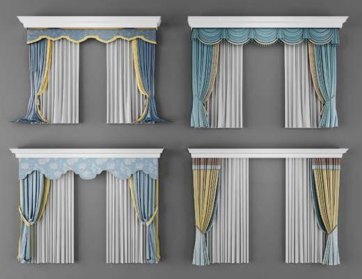 欧式窗帘, 窗帘, 帘, 欧式