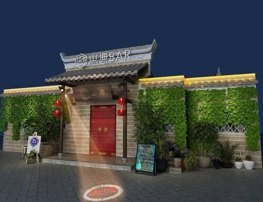 餐饮, 酒吧, 绿植墙, 门头, 门面