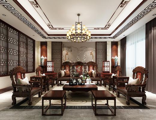 中式客厅, 客厅, 沙发组合, 中式沙发, 椅子, 中式椅子