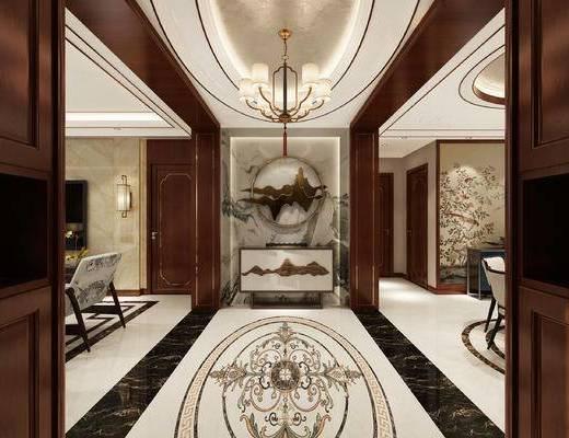 玄关, 玄关柜, 柜架组合, 墙饰, 吊灯, 壁灯