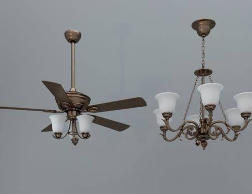 风扇吊灯, 金属吊灯, 多头吊灯, 美式