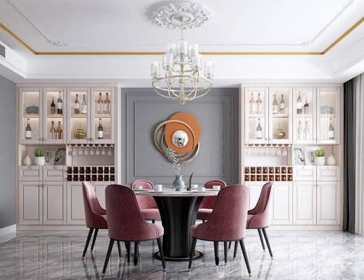 餐厅, 餐桌, 餐椅, 圆桌, 餐具, 吊灯, 装饰柜, 酒柜, 酒瓶, 墙饰, 简欧