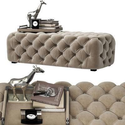 脚踏, 沙发凳, 床尾凳, 长颈鹿, 时钟, 书籍, 放大镜, 摆件, 装饰品, 沙发脚踏, 现代, 简欧