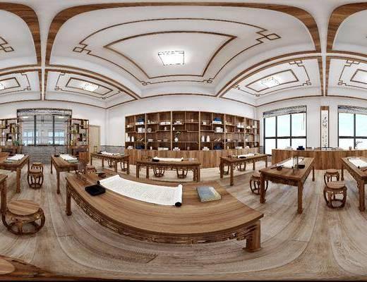 工装全景, 书桌, 装饰柜, 书法, 装饰架, 摆件, 装饰品, 陈设品, 新中式