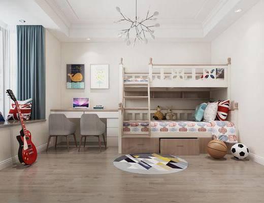 兒童房, 男孩房, 上下床, 書桌, 單人椅, 裝飾畫, 掛畫, 吊燈, 吉他, 玩具, 北歐